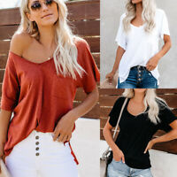 Women V Neck Baggy Short Sleeve T Shirt Summer Casaul Plain Tunic Top Blouse Tee