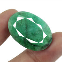 FINEST TOP MOST DEMANDED 30.00 CTS NATURAL OVAL SHAPED FACETED GREEN EMERALD GEM