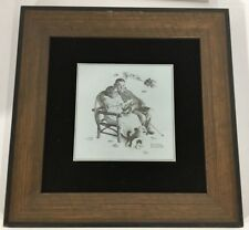 Rare Norman Rockwell Framed Print Etched In Metal From 1972 Four Seasons Of Love