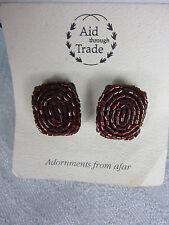 Red Glass Bead Earrings Pierced Aid Through Trade 2 cm x 1.5cm Wide Nepal New