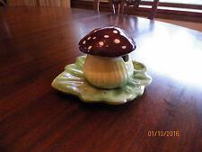 VINTAGE MUSHROOM jam, jelly or mustard Jar sitting on a leaf