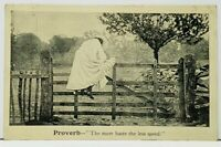 Proverb The More Haste the Less Speed, Woman Climbing Fence 1907 Postcard I13