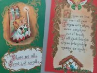 2 Vtg FRIENDS at CHRISTMAS & GOD BLESS US ALL Sunshine CHRISTMAS GREETING CARDS