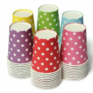 10 pcs Colored Polka Dots Disposable Paper Cups Wedding Party Tableware Drink