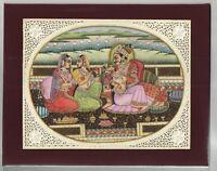 Indian Mughal King & Queen Erotic Harem Scene Art Miniature Painting Hand Paint