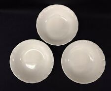 Set of 3 Vintage Made in USA White Milk Glass Cereal Salad Soup Bowls Embosed