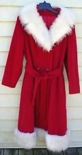Vintage Red with White Faux Fur Mrs Santa Wool Coat  Union - Maid ILGWU