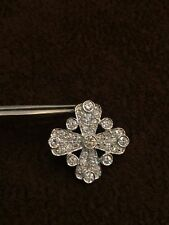 Pave 1.22 Cts Natural Diamonds Cross Pendant In Fine Hallmark 18Karat White Gold