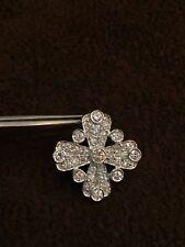 Pave 1.22 Cts Natural Diamonds Cross Pendant In Fine Hallmark 18Karat White Gold