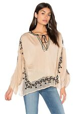 NWT - Free People Rare-$98 cream ivory Embroidered Boho blouse top shirt women's