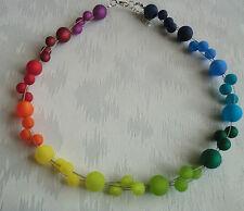Perlen Kette Halskette Collier Polarisperlen Regenbogen bunt farbig Silber NEU
