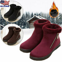 Women Warm Winter Snow Ankle Boots Suede Fur Lined Zipper Shoes Boots Size 5-7.5