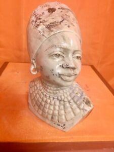 "Butter jade female Shona stone Bust by E. Katombera, ""Maria"""