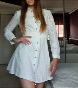 ZARA OYSTER WHITE BELTED COLLARED BUTTON CUTWORK EMBROIDERY SHORT SHIRT DRESS S