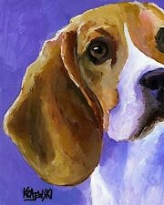 Beagle Dog Art Print Signed by Artist Ron Krajewski Painting 8x10