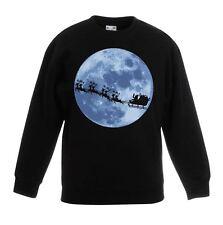 Santa With Sleigh Christmas Kids Sweatshirt - Father Present Gift Jumper