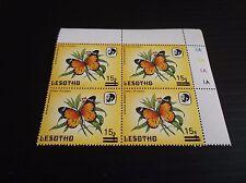 LESOTHO 1986 SG 724 SURCH  BUTTERFLIES BLOCK OF FOUR  MNH