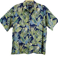 Tori Richard Hawaiian Shirt Blue Green Tropical Leaves Camp Aloha Cotton Lawn XL