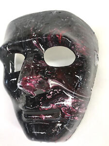 Halloween mask Hand painted resin finish- leather strap Mardi Gras wall art
