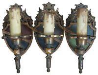 3 Antique Edwardian Iron Heraldic Sheild Sconce Lights Victorian English Tudor