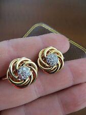 RARE ! Old Vintage Tiffany & Co 14k Gold Diamonds Interlocked Earrings w/Box