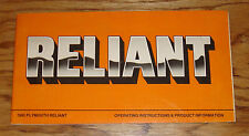 Original 1983 Plymouth Reliant Owners Operators Manual 83