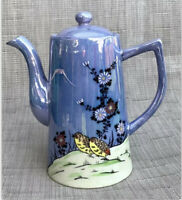 VTG Nippon Hand Painted Blue Lusterware Tea Pot Birds Flowers