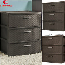 Large Plastic Storage 3 Drawers Wide Cabinet Home Office Weave Box Chest Tower