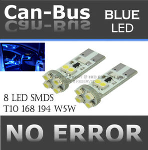 4 pc T10 168 194 No Error 8 LED Chips Canbus Blue Replace Map Light Lamps O311