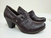 Born BOC Logo Brown Leather Double Monk Strap Block Heel Booties Womens 39 / 8