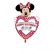 "Giant 33""x24"" MINNIE MOUSE PERSONALISED Happy Birthday Foil Helium BALLOON Party"