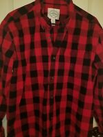 Men's St Johns Bay Flannel Long Sleeve Button Down Size Xl Black/Red Plaid Shirt