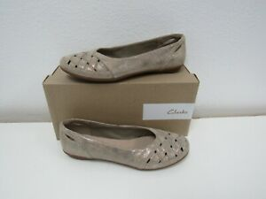 New Clarks Women's Gracelin Maze Pewter Etain Loafer Ballerina Flats Size 8.5