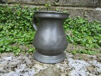 Antique pewter tankard - 19th century metalware with name on front