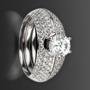 DIAMOND RING BANDS SET SI1 LADY NATURAL 2.4 CT 18 KT WHITE GOLD SIZE 7 8 9