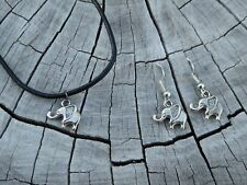 Tropicalia Handcrafted Necklace Earrings Tiny Elephants Tibetan Silver Charms