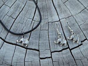 Tropicalia Handcrafted Necklace Earrings Tiny Elephants Tibetan Silver Charms