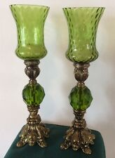 Pair of  Candlestick Holders & Shaded Candle Pegs Green Quilted Diamond & Brass