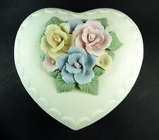 Large Vintage Bisque Porcelain Heart Shaped Lidded Trinket Box with Roses on Top
