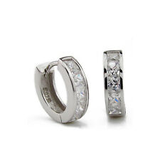 Mens womens 925 Sterling Silver Zircon Cryatal Ear Hoop Huggie Studs Earrings