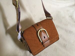 NEW Fossil Wiley Crossbody Shoulder Brown Tan Suede Leather Bag £129!