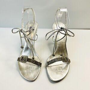 Cellini Size 8 Silver Stiletto High Heel Strappy Ankle Tie Australian Designer