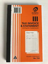 Brand New Olympic Tax Invoice & Statement Book No. 724 Carbonless 50 Page