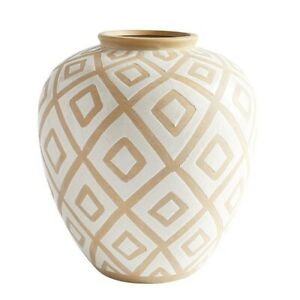 Pier 1 Imports Modern Cream/Beige/Antique White/Natural Decorative Vase NWT!