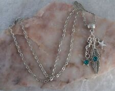 Tibetan Silver Feather & Star Green Diamante,Silver Chain Necklace. Handmade