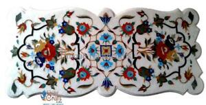 Floral Design Dining Table White Handmade Traditional Marble Inlay Furniture Art