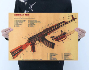 AK 47M KALASHNIKOV RETRO PRINT. IDEAL FOR DEN/SHED/MAN CAVE/SHE SHED.