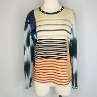 Custo Barcelona Women's Size 2 Long Sleeve Button Top Art To Wear Tie Dye D21