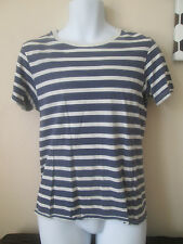 NEXT - BLUE WHITE STRIPED SHORT SLEEVED CREW NECK T-Shirt Size SMALL