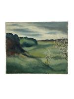 Vintage 1970's Original Moody Rolling Hills Landscape Oil Painting Signed 1976